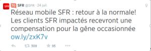 Gestion fin de crise SFR twitter