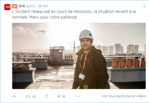 Incident SFR  en cours de resolution twitter
