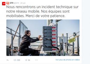 Incident SFR twitter
