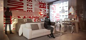 Dans les chambres du Radisson Red, on trouve un lit, un sofa et une table qui sert aussi bien pour les repas que pour travailler