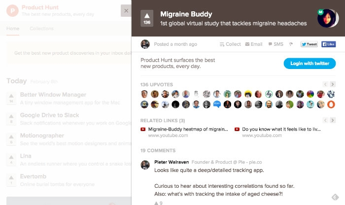 Capture d'écran de Migraine Buddy sur Product Hunt