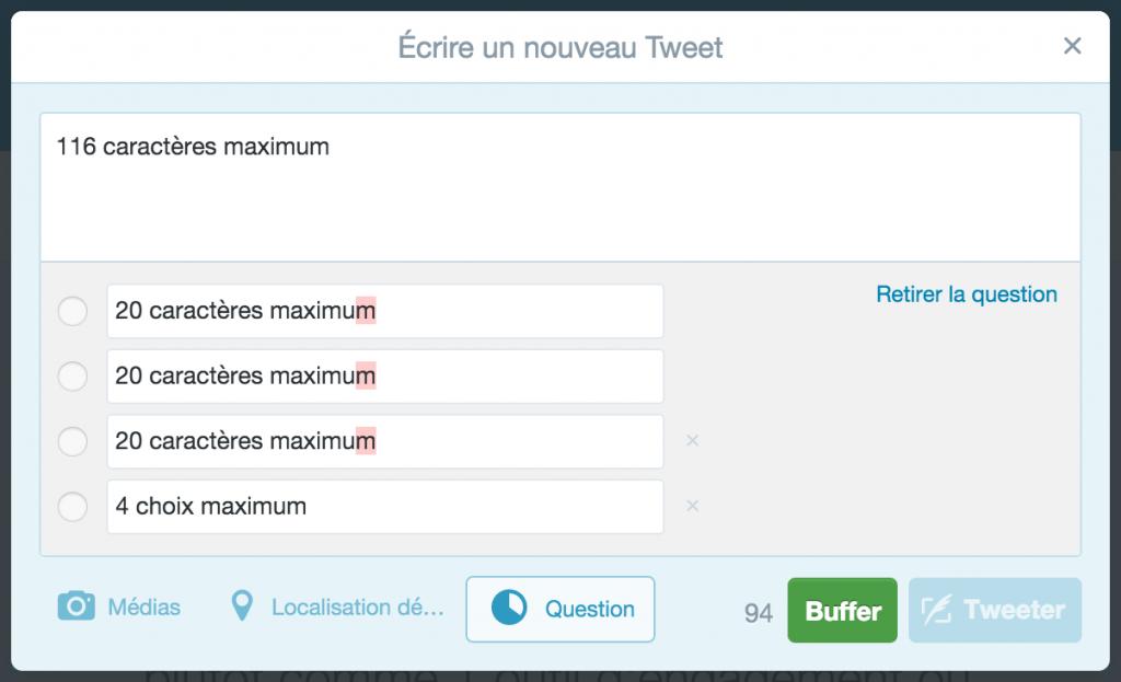 Contraintes à respecter lors de la création d'une Question Twitter