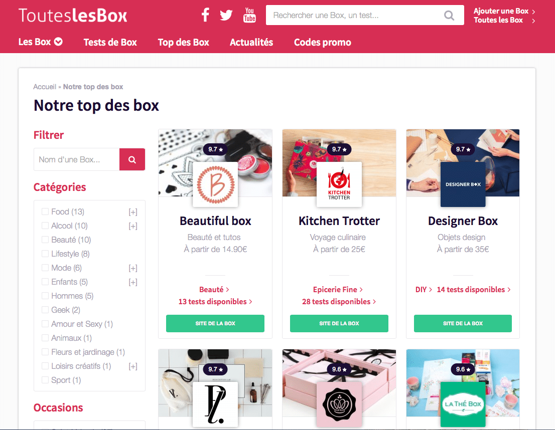 Image Touteslesbox site regroupant toutes les Start up box