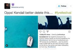 Tweet Fyre Festival Kendall Jenner Marketing d'influence