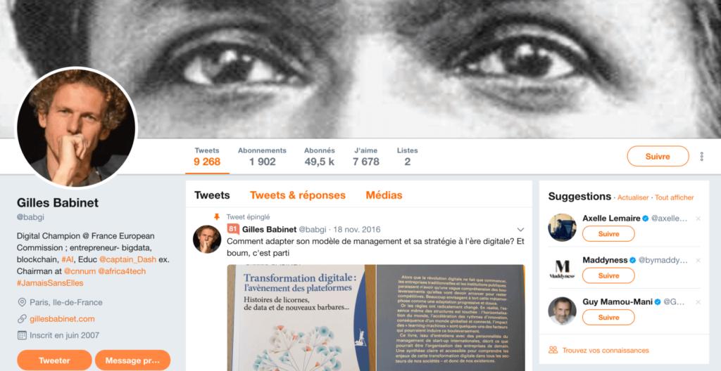 Profil Twitter de Gilles Babinet