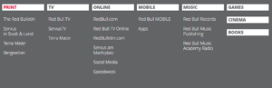Catégories de produits média Red Bull