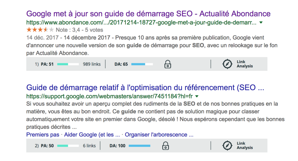 Illustration outil MOZ - Audit SEO