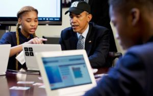 Obama lançant le programme Computer Science for All
