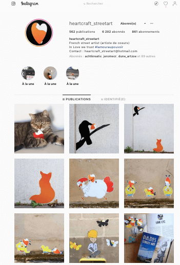 exemple de Feed Instagram du Street Artist HeartCraft.