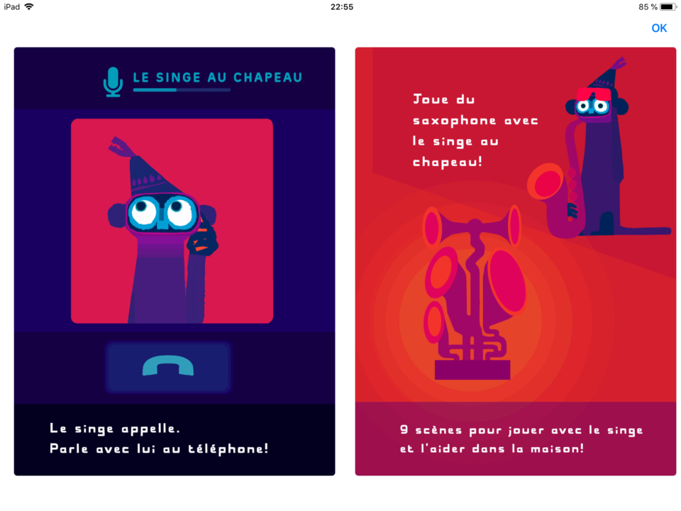 application-livre-interactif-singe-chapeau