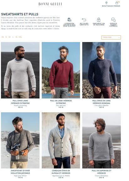 site internet design et élégant de la marque de mode masculine Bonne gueule