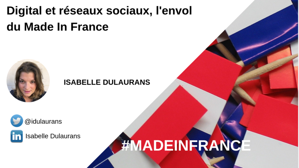 l'image présente le titre de l'article avec les coordonné et la photo de son auteur Isabelle Dulaurans et un visuel de drapeau Français