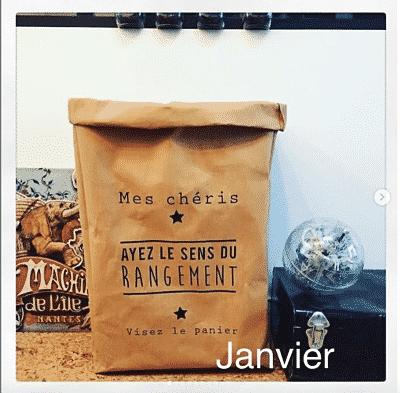 sacs en papier kraft Made in france avec comme inscription Mes chéris ayez le sens du rangement, visez le panier. De la marque Kraft and You