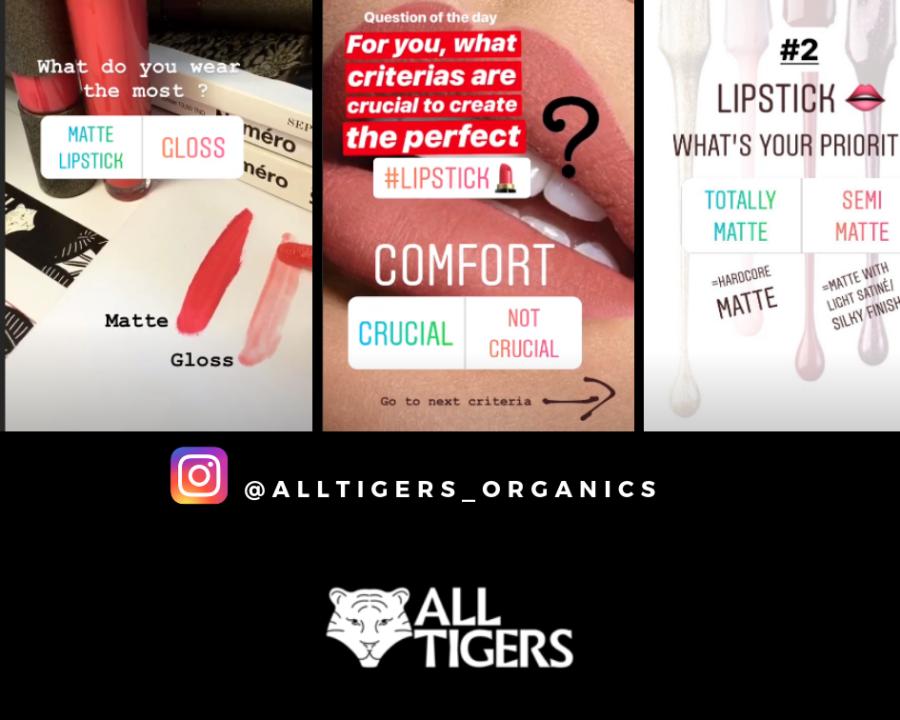 à découvrir les stories sur le compte instagram de la marque de rouge à lèvres vegan et naturelle