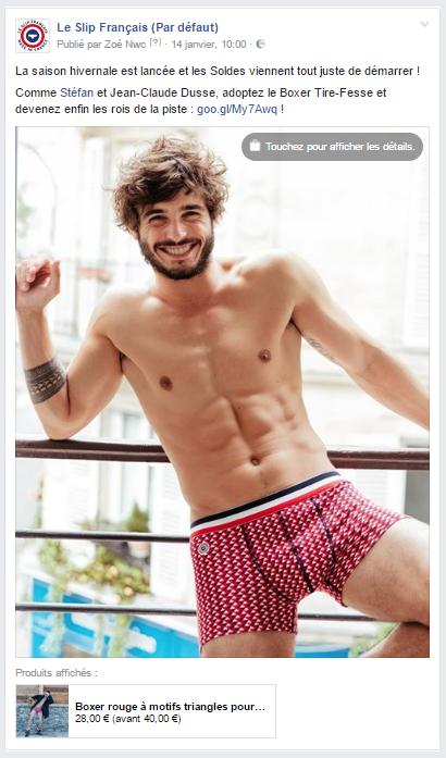 Campagne de publicité de la boutique Facebook - Le Slip Français