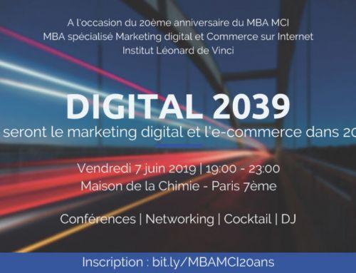 [#MBAMCI20ans] La soirée des 20 ans du MBA MCI le 7 juin & conférences Digital 2039