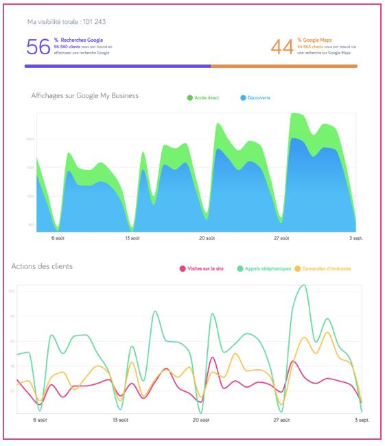 Exemple de statistiques Google My Business