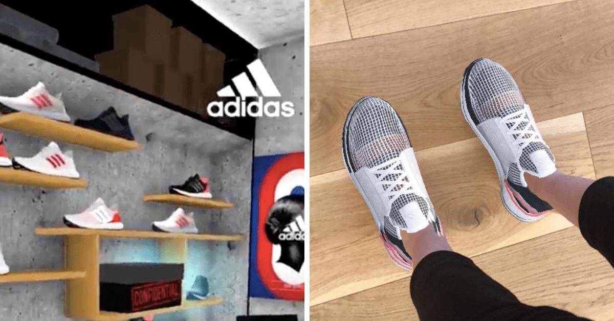 Image de l'essayage des chaussures Adidas ultra Boost 19 en réalité augmentée avec Snapchat.