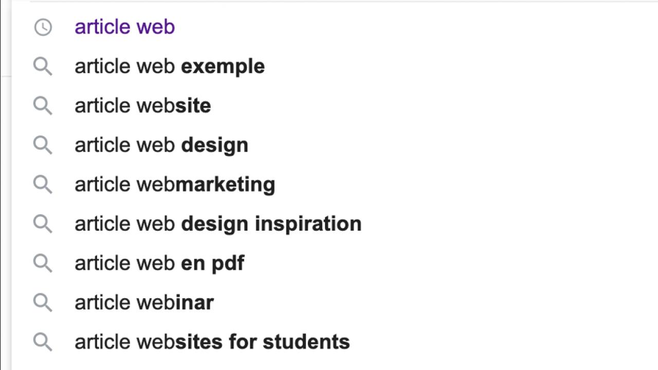 Recherche Google Article Web