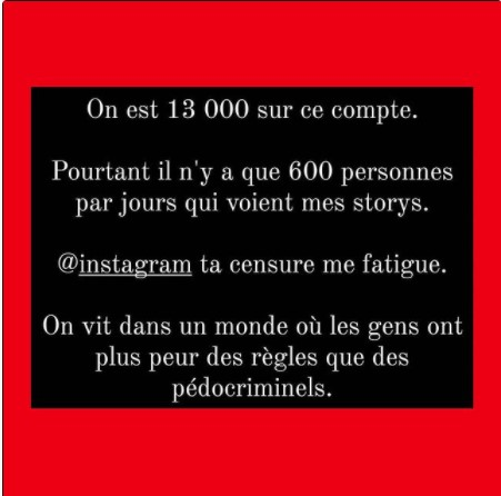 Post Instagram de Cavasaigner sur censure